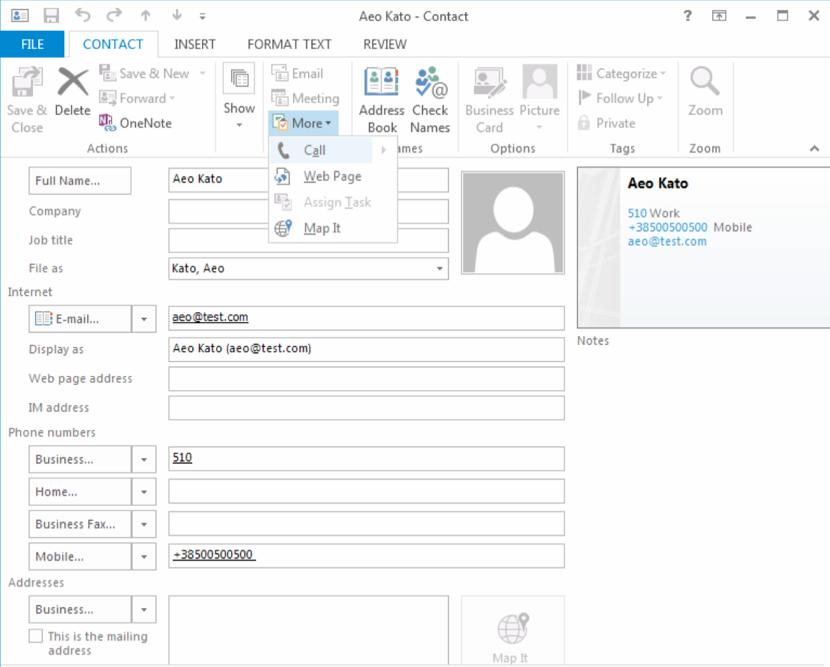Come fare chiamate centralino da Outlook